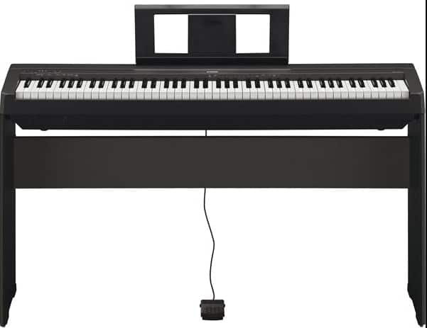 best affordable Yamaha p45, this piano is only available in black color and presents a very simple keyboard interface