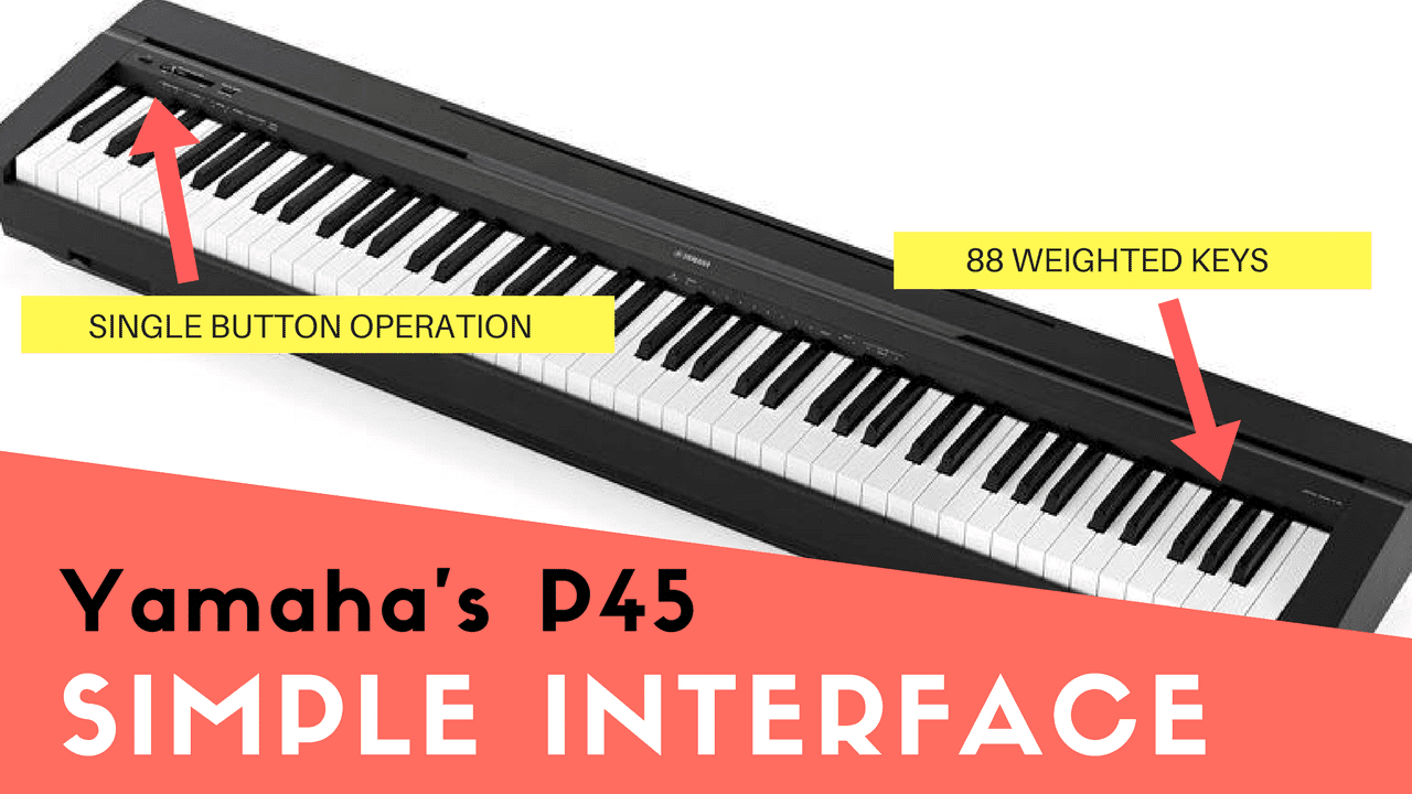 A clear view of the Yamaha digital piano, highlighted are its 88 weighted keys and single button operation