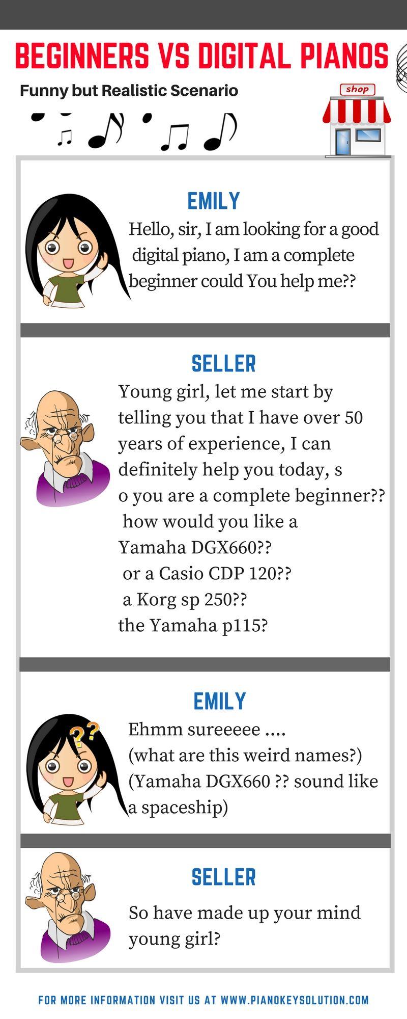 Girl vs Digital piano funny infographic